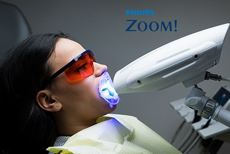 Patient receiving Zoom! teeth whitening treatment